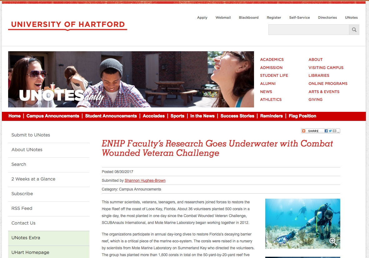 Media: ENHP Faculty's Research Goes Underwater with Combat Wounded Veteran Challenge