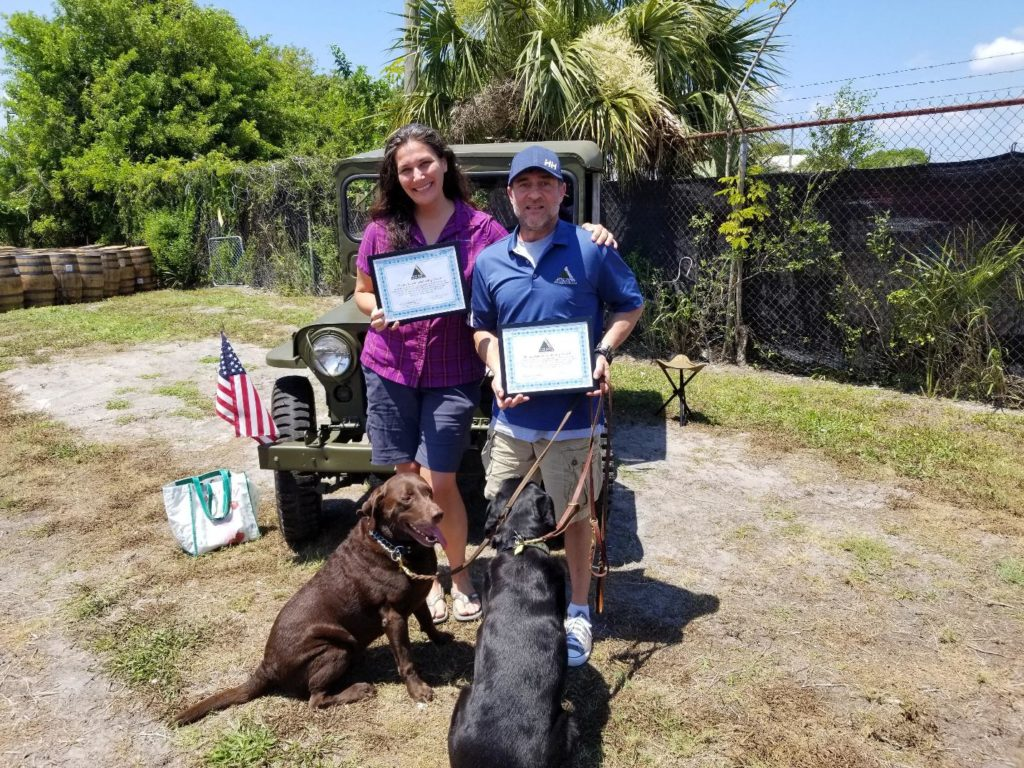 Jay Katzen Leadership Award recipients with their service dogs